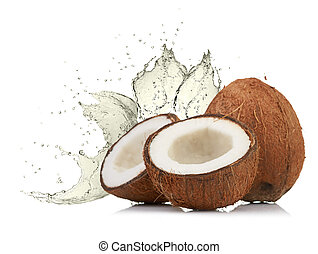 cracked coconut with splashing water