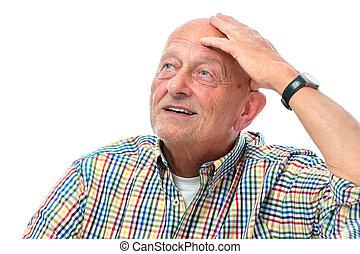 Senior man looking up