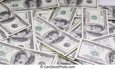 Sliding camera view, pile of money - Sliding camera view on...