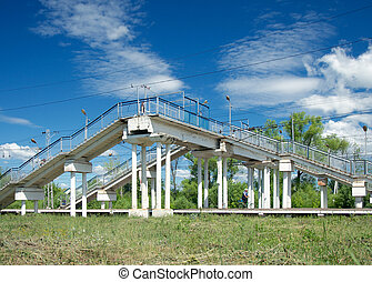 Footbridge in Drezna near Moscow - Overbridge over the...