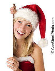 mirjam - santa woman holding an add isolated over a white...