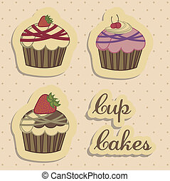 Cup Cake - Illustration of cup cakes and desserts, in...
