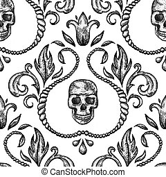 Vintage seamless ornament with skull in baroque style. EPS 8...