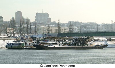 Belgrade, winter, boats - Belgrade, winter, old river boats,...