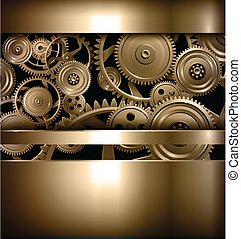 Technology background metallic gears and cogwheels, vector