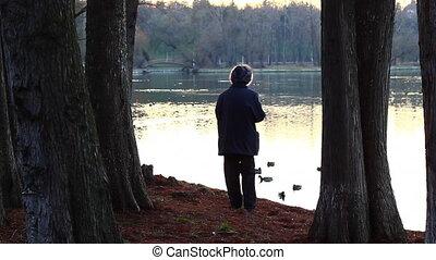Lonely woman feeding ducks