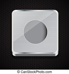 button icon on metal background. Vector illustration