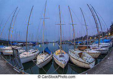 Sailboats And Marina - Sailboats at a marina at Lake Geneva,...