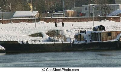 Danube river, Belgrade - Danube river, rusty river boat,...