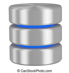 Database icon with blue elements isolated on white...