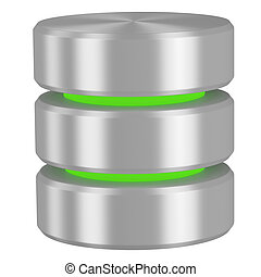 Database icon with green elements isolated on white...