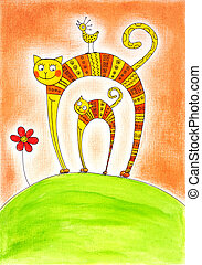 Cat and kitten, child's drawing, watercolor painting on paper