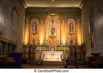 Mission Santa Barbara chapel alter - close up of inside...