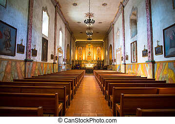 Mission Santa Barbara chapel inside - landscape of Mission...
