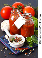 Tomato sauce - Traditional homemade tomato sauce with empty...