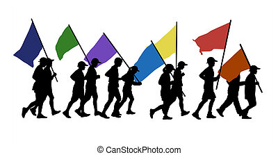 people running with flags - 11 persons men and women runnig...
