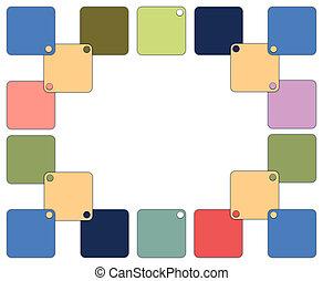 marco, cuadrados, colorido