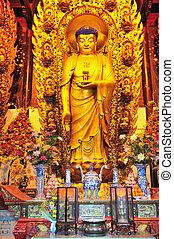 Chinese buddhist shrine - Interior of Chinese buddhist...