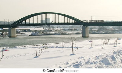 Belgrade, Old bridge, Sava river, winter
