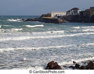 Coverack In Cornwall - Atlantic waves roll into the small...