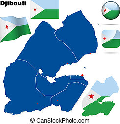 Djibouti vector set Detailed country shape with region...