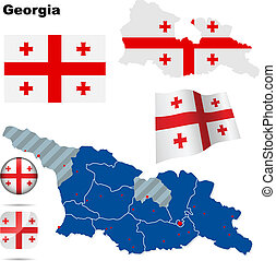 Georgia vector set Detailed country shape with region...
