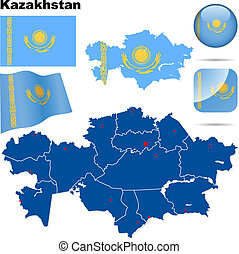 Kazakhstan vector set Detailed country shape with region...