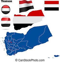 Yemen vector set Detailed country shape with region borders,...