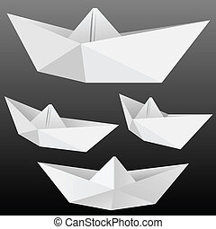 Paper boats - Vector collection of origami paper boats...