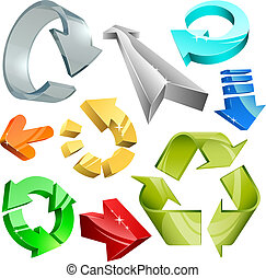 3D arrows - Vector collection of color plastic, metal and...