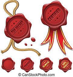 Collection of red wax seals