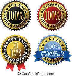 100 guarantee golden labels - Vector set of 100 guarantee...