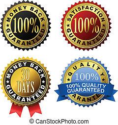 100% guarantee golden labels - Vector set of 100% guarantee...