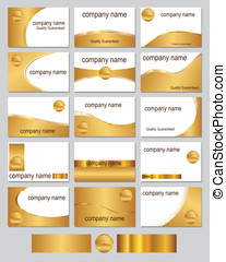 Gold coloured business cards - Fifteen business card designs...