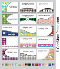 Fifteen plaid business cards - Fifteen business card designs...