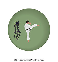 karate - the illustration, the person on a green background,...