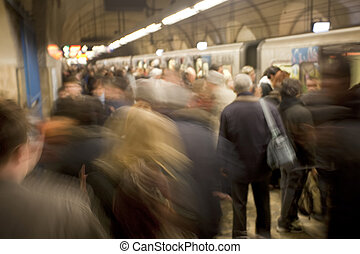 Busy Subway Platform in Rome, Italy - A busy subway station...