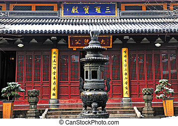 Chinese buddhist shrine in the city of Shanghai China