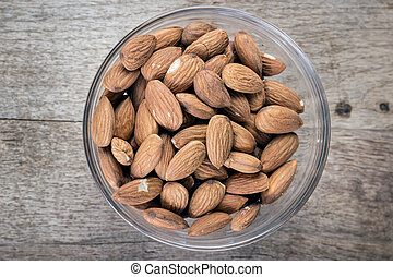 almonds in a glass bowl