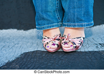 Woman in Cute Pink Heels and Blue Jeans - A woman in blue...