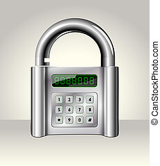 Opened padlock with digital interface,data security concept