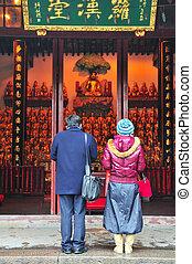 Chinese buddhist shrine in the city of Shanghai China