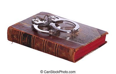 old book with handcuff
