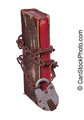 old book with rusty chain and padlock