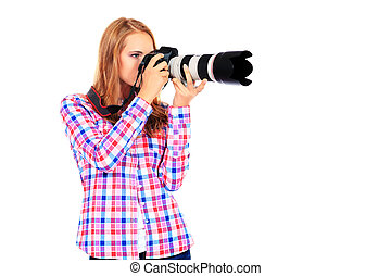 photographic - Pretty young woman taking pictures on the...