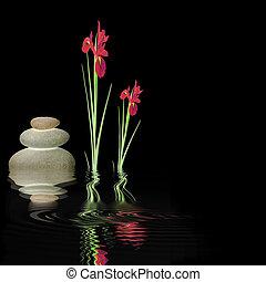 Zen Silence - Zen abstract design glowing grey spa stones...