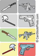Weapons Vector Set - Weapons monochrome and color Good use...