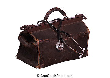 old bag with stethoscope