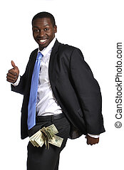 Fat pockets - Young businessman with pockets fat of cash...