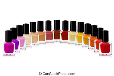 nail polish - red nail polish bottle on white background